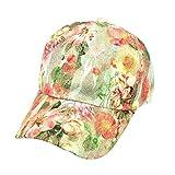 BCDshop Butterfly Flower Baseball Cap Women Lady Duck Tongue Hat Anti Sai Cap (Green 1)
