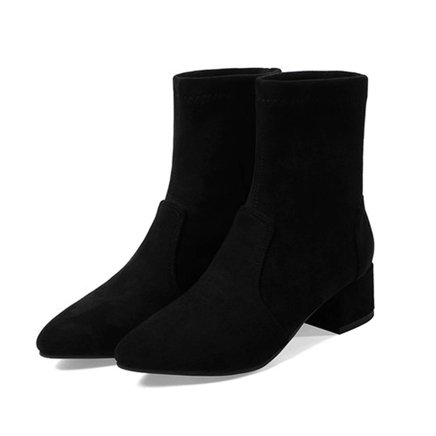5 black Women's Boots Pointed Toe Yarn Elastic Ankle Boots Thick Heel High Heels shoes
