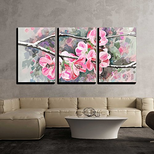 Original Modern Tree - wall26 - 3 Piece Canvas Wall Art - Original Painting of Flower, Blooming Spring Tree, Watercolor Style, Vector Version - Modern Home Decor Stretched and Framed Ready to Hang - 24