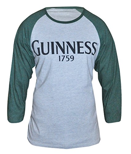 Guinness Green and Grey Heathered Vintage Baseball Tee - Cotton Polyester Raglan Style Long Sleeve T-Shirt (Small) ()