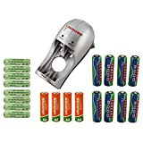 Uniross Compact Battery Charger with 20 Rechargeable Batteries - 12 x AA + 8 x AAA NiMH