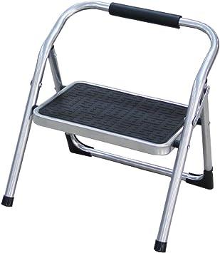 Duwee Escalera Plegable Taburete Escalera Plegable de Acero con 1 Peldaños Antideslizantes exteriores multifuncional: Amazon.es: Hogar