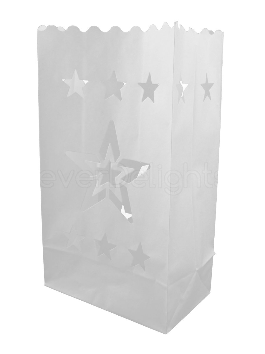 CleverDelights White Luminary Bags - 20 Count - Star Design - Flame Resistant Paper - Wedding, Reception, Party and Event Decor - Luminaria Candle Bag
