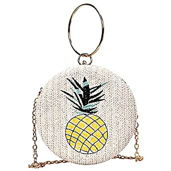 TOOGOO Women Beach Round Pineapple Woven Bag Straw One Shoulder Portable Messenger Crossbody Bags Creamy-White