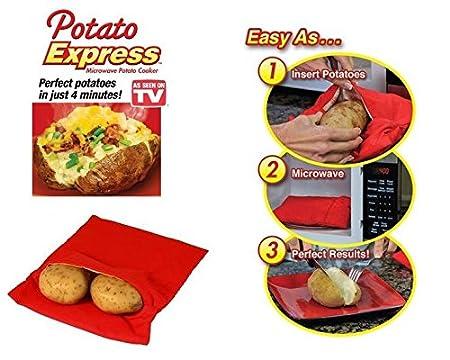 Lote de 2 bolsas para cocinar patatas aptas para microondas, se puede lavar a máquina, reutilizable