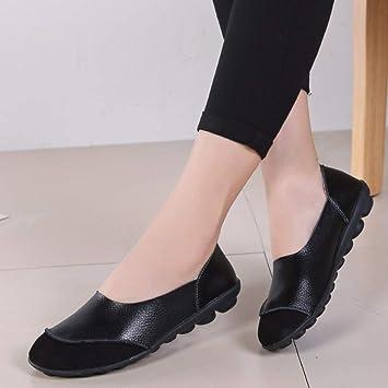 Mujer Zapatos Planos Cuero Empalme Soft Único Ligero Slip-On Mocasines Bajo El Talón Scrub
