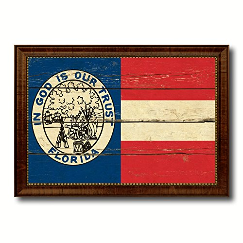 Civil War Florida Military Vintage Flag Brown Framed Canvas Print Home Decor Wall Art Gifts Signs Cards 15