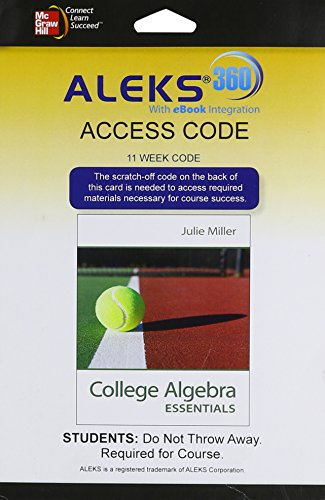 Aleks 360 Access Card  11 Weeks  For College Algebra Essentials