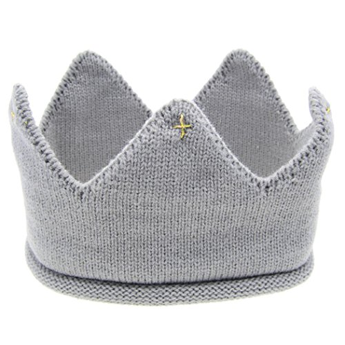 Veenajo Baby Boy Girl Crown Hat Birthday Warm Soft Knit Crochet Beanie Warm Cap 5 Colors (Old Fashioned Newsboy Cap)