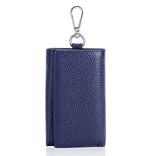 HOLLY TRIP Unisex Compact Premium Leather Key Case Wallet Keychain Key Holder Ring with 6 Hanging Buckle Hooks Snap Closure, Blue