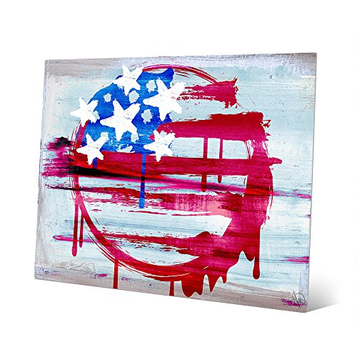 United Sign - Free-form Distressed Circular American Flag Wall Art