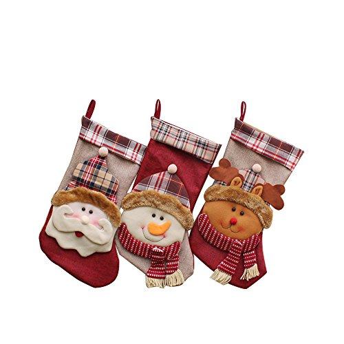 YAMUDA 3 Pcs Set Big size Classic Christmas Stockings Christmas Stocking XMAS Gift by YAMUDA