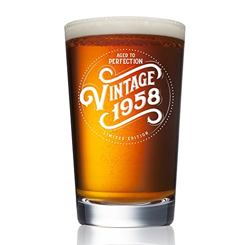 1958 60th Birthday Gifts for Women and Men Beer Glass - Funny Vintage Anniversary Gift Ideas for Him, Her, Dad, Mom, Husband or Wife. 16 oz Pint Craft Bar Glasses. Party Decorations IPA Mug Cup
