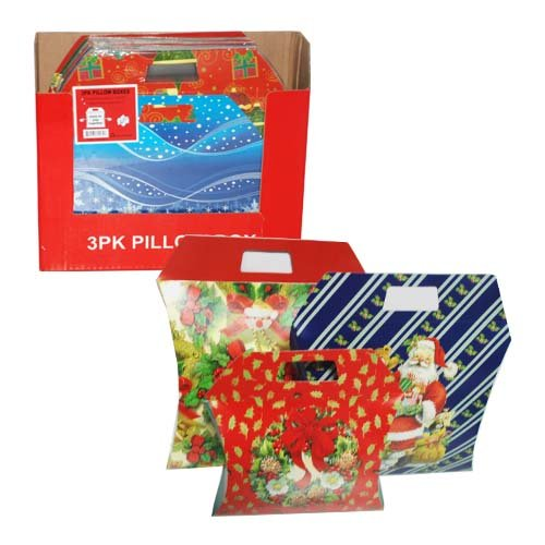 3pk Pillow Xmas Gift Box Asst Design, Case of 48 Asst Gift Box