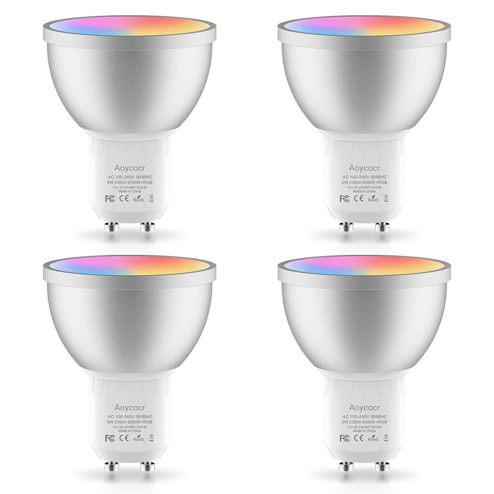 GU10 Led Bulbs Dimmable, 35W Halogen Bulbs Equivalent, 5W 230Lumen, 6500K Daylight White, 120° Beam Angle, MR16 LED Light Bulbs, Compatible with Amazon Alexa and Google Assistant, 4 Pack
