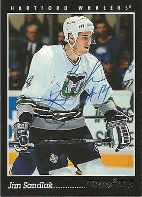 (Jim Sandlak 1993 Pinnacle Autograph Card #364 Canucks)