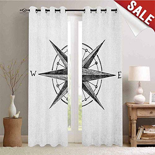 Compass Room Decor Complete - Flyerer Compass, Decor Curtains by, Seamanship Hand Drawn Windrose with Complete Directions North South West, Room Darkening Wide Curtains, W72 x L84 Inch Charcoal Grey White