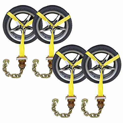 US Cargo Control Side Mount Wheel Net w/Ratchet & Chain Extension - 4 Pack