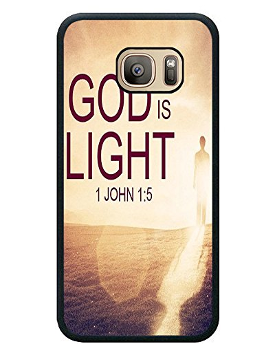 Galaxy S7 Case Christian Quotes, Samsung Galaxy S7 Case Bible Verses God is light 1 John 1:5 The Light shines in the darkness, and the darkness did not comprehend it - Black Rubber Case Cover