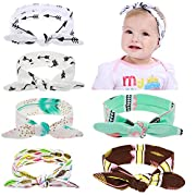 Globalsupplier Self Tie Headband for Newborn Infant Baby Girl Kids Toddlers (6 PCS PACK S3)