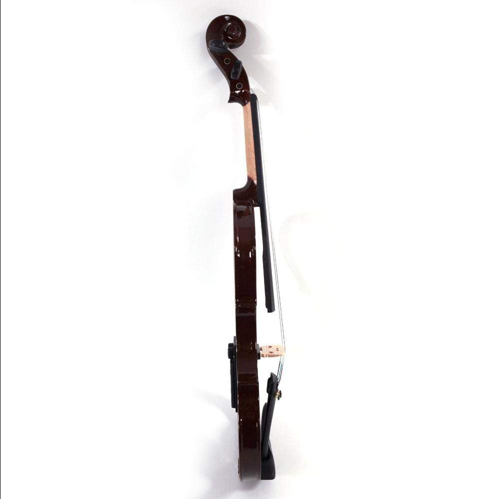 Brown 4/4 Solid Wood Electric/Silent Violin with Ebony Fittings - Full Size - Black Metallic by Aromzen (Image #1)