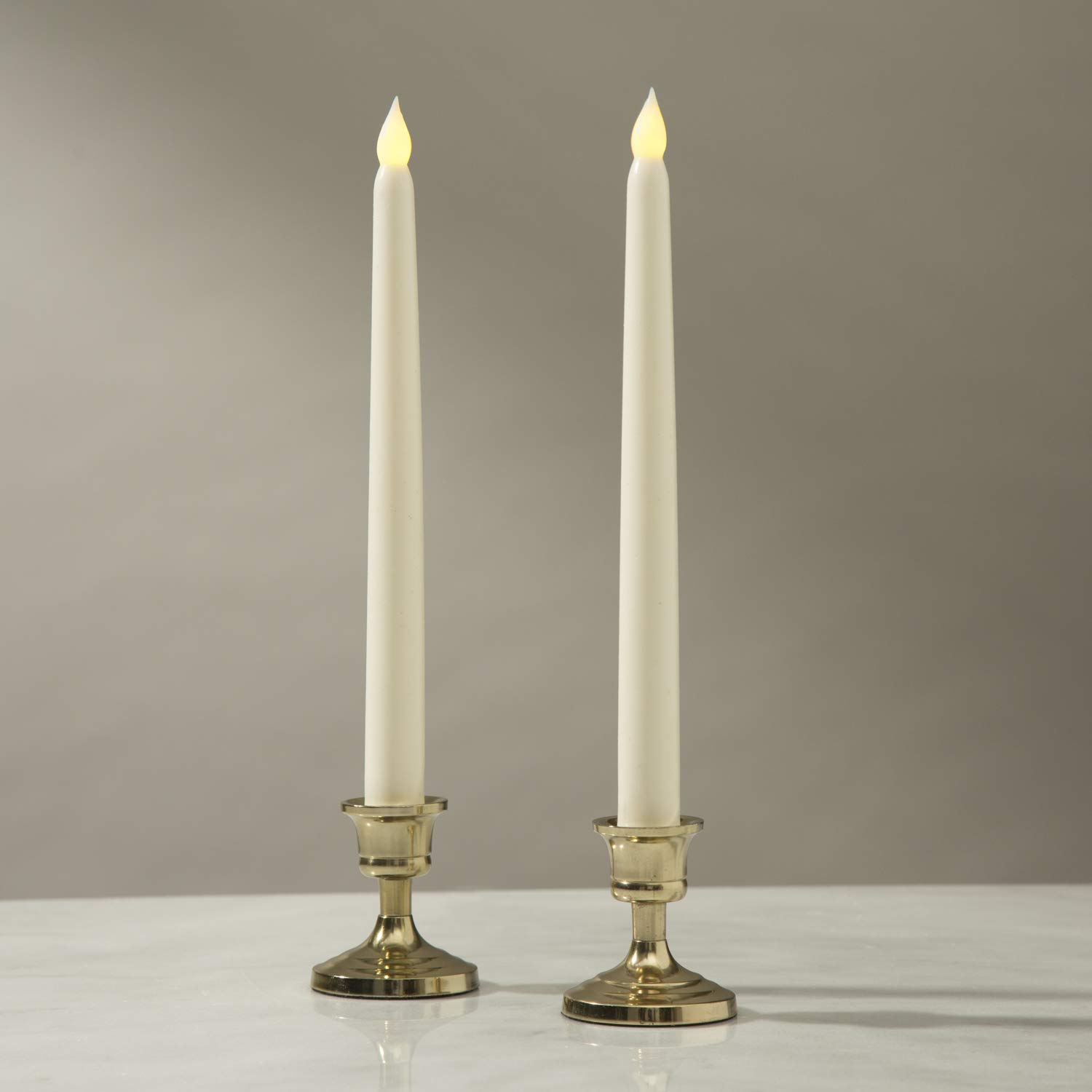 LampLust Brass Finished Taper Candle Holders, 3 Inches, Metal, Traditional Shape, Fits Standard Candlestick Diameters - Set of 2 by LampLust (Image #5)