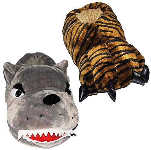 2 verschiedene - Hausschuh / Pantoffel - Pfote Tiger + Wolf - Größen Gr. 41 - 42 - Rechter & Linker Schuh hat unterschiedliche Motive !!! - Plüschhausschuh - für Kinder + Erwachsene - Plüsch Hausschuh