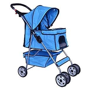 Pet Stroller Cat Dog Cage Travel Folding Carrier 4 Wheels Blue #431