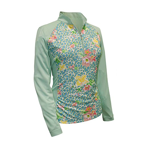 Monterey Club Ladies Dry Swing Vivid Flower Leopard Print Block Long Sleeve Shirt #2366 (Fairest Jade, Medium)
