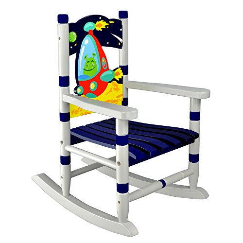 Fantasy Fields Outer Space Thematic Child Wooden Small Rocking Chair, Blue