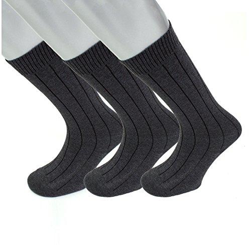 (Diabetic Socks   Mens Charcoal Grey Mid-Calf Ribbed 3 Pack   Seamless Toe Size)