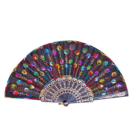 (Chinese Fan Sequin Folding Fan Vintage Handheld Fans for Women Embroidered Peacock Pattern Dancing Fan Perfect Gift for Girls & Women (D))