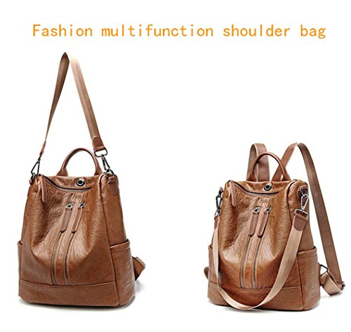 Travel Bag Shoulder Rucksack Women Backpack 2 Casual Fashion Leather Purse School PU Black Lightweight vqXwRPX