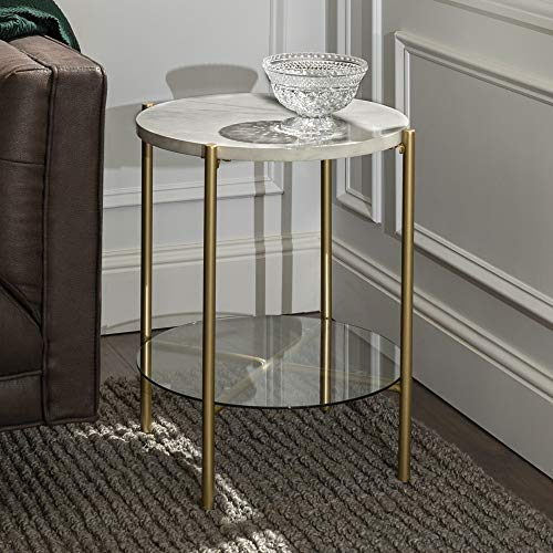 WE Furniture Modern Glam Round Side End Accent Table Living Room, 20 Inch, White Marble, Gold (Table Glass White Side)