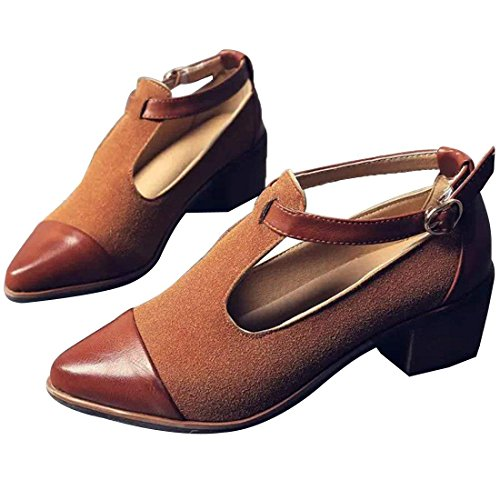 Pumps Vintage Suede (Susanny Women's Vintage Cute T-Strap Low Heel Pointed Toe Brown Oxfords Pump Shoes with Buckle 6 B (M) US)