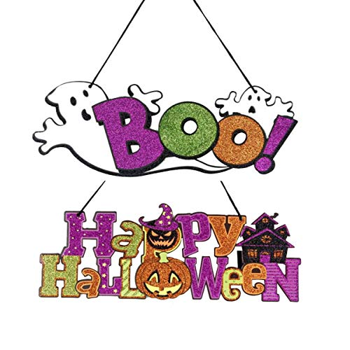 Halloween Door Signs,Boo, Happy Halloween Letters Happy Halloween Sign 175.7 Inch Best for Home School Office Party Decorations 2 Pack ()