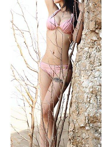 Frauen solid pink / lila Bikini, reizvolle halter Push-up- , purple-s , purple-s