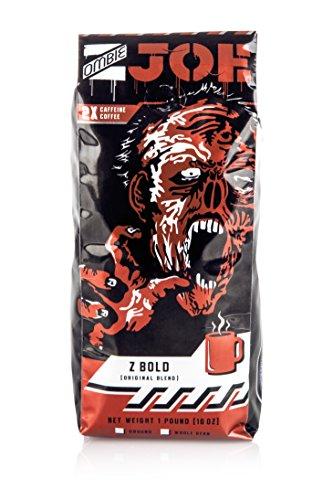 Hot Top Coffee Roaster - Dark Roast Ground Coffee: Double Caffeine Zombie Joe Z Bold Specialty Coffee - Extra Caffeinated, Robust, Premium Dark Roast - 1lb Bag (Ground)