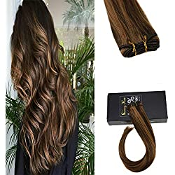 """Sunny 20"""" Piano Color Dark Brown with Caramel Blonde Brazilian Remy Hair Weft 1 Bundle Straight Hair Weave Extensions 100gram"""