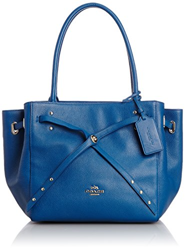 NEW AUTHENTIC COACH REFINED PEBBLE LEATHER TURNLOCK TIE TOTE SATCHEL BAG (Denim) - Gathered Tote Bag