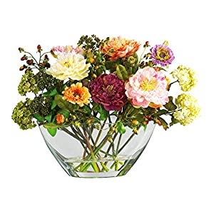 Artificial Flowers -Mixed Peony with Glass Vase Flower Arrangement Silk Flowers 18