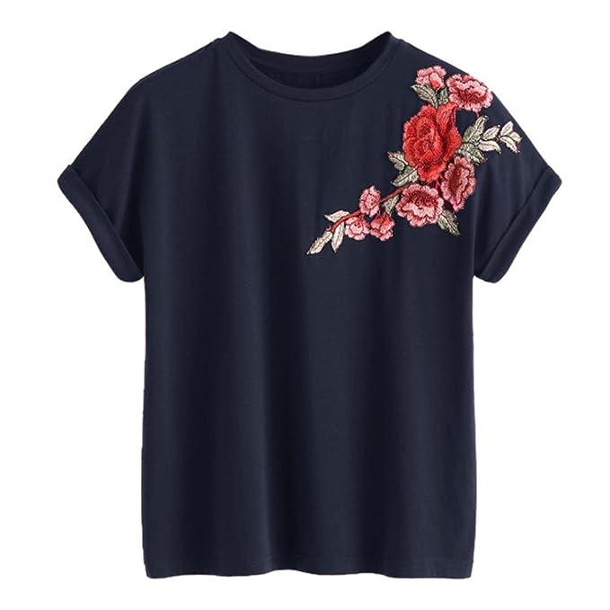 FAMILIZO Camiseta Bordada con Apliques Camisetas Mujer Manga Corta, Camisetas Mujer Manga Corta Blouse For