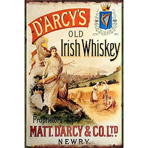 YOMIA Vintage Tin Irish Whisky Picture Photo Signs Retro Wall Plaques Plate Posters Cafe Decor for Home Club Bar Hotel Antique Metal Painting