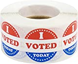 I Voted Today with Red, White, and Blue Circle Stickers, 1 Inch Round, 500 Labels on a Roll