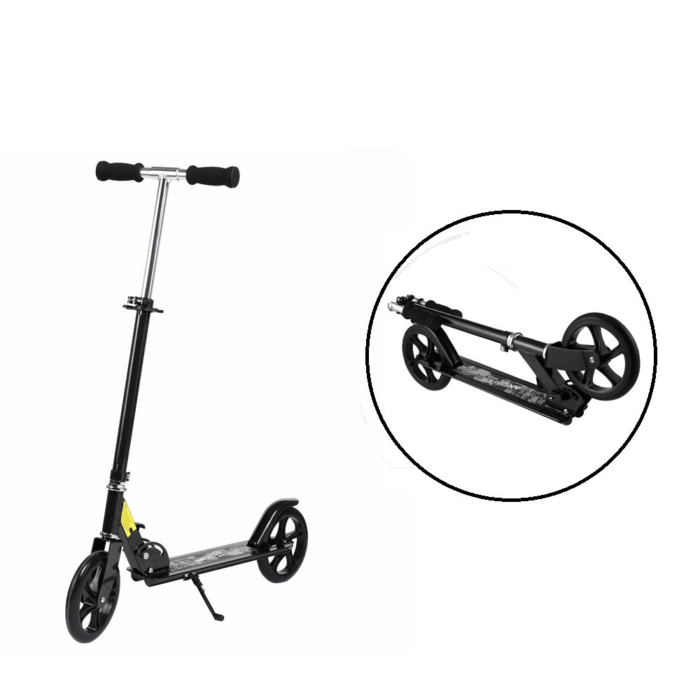 Foldable Kick Scooter, Hindom Adult 3 Levels Adjustable Height 2-Wheel Kick Scooter (US Stock)