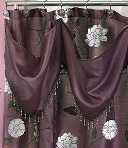 Popular Home The Avantie Collection W-ATT VAL S-Curtain, Purple, 70 by 72