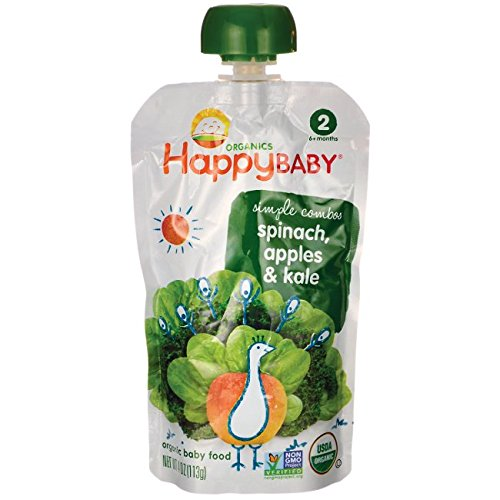 Happy Baby Organic Apple Spinach Kale Baby Food (16x3.5 OZ) HappyBaby