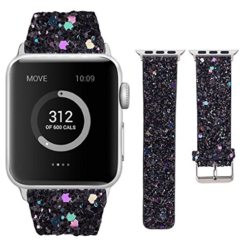 Moonooda Compatible with iWatch Bands 38mm 40mm 42mm 44mm, Women Replacement Wristband Bling Glitter Strap Compatible with Series 4 3 2 1, Black]()