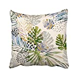 Emvency Decorative Throw Pillow Cover Square Size 18x18 Inches Watercolor Art Tropical Leaves Marble Abstract Pattern Pillowcase With Hidden Zipper Decor Cushion Gift For Holiday Sofa Bed