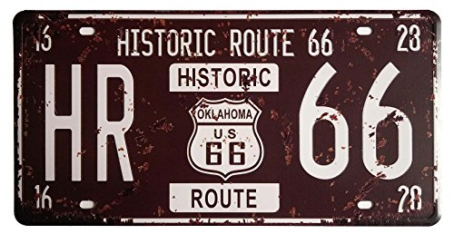 Souvenir Plate Wall (ERLOOD Metal Tin Sign Plaque Vintage Retro Home bathroom Bar Wall Decor Car Vehicle License Plate Souvenir Historic Route 66 Embossed Tag Size 6 X 12)